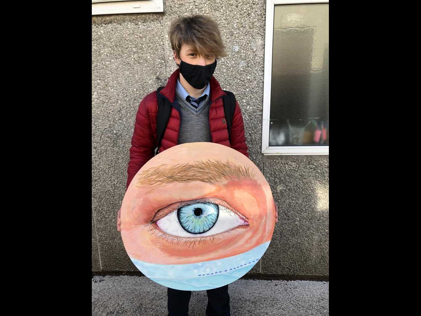 Pierre  Dumoulin with his eye for the 50th Anniversary Student Council mural